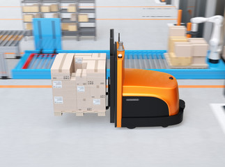 Side view of autonomous forklift carrying pallet of goods in modern logistics center. 3D rendering image.