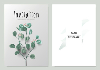 Invitation card template design, branch of green silver dollar eucalyptus leaves and flower on light gray background