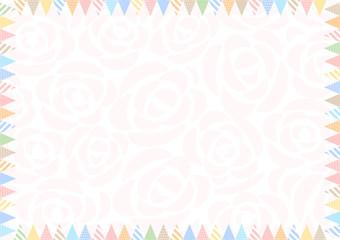 フラッグ フレーム 花柄背景