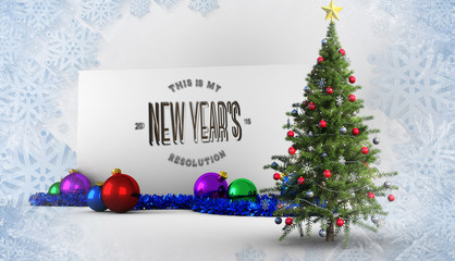 New years resolution against poster with christmas tree