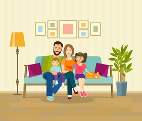Smiling young parents and their children on sofa in the living room. Vector flat style illustration