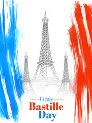nice and beautiful abstract or poster for Bastille Day with nice and creative design illustration.