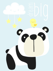 cute panda bear with little bird and design elements. design for baby and children. can be used for baby room wall art, nursery decoration or invitations