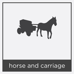 horse and carriage icon isolated on white background
