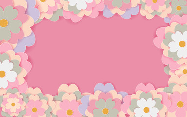 Paper cut flower holiday background Vector illustration