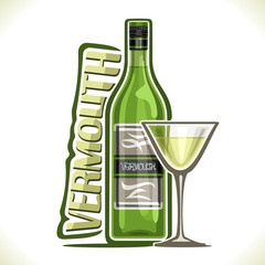 Vector illustration of alcohol drink dry Vermouth, poster with green bottle of premium italian herbal booze, full martini glass, original typeface for word vermouth, outline composition for bar menu.
