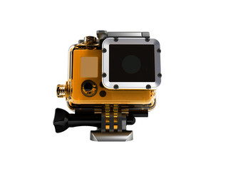 Action camera in durable plastic transparent yellow with a leg for attaching to a helmet for filming under water in front 3d rendering on white background no shadow