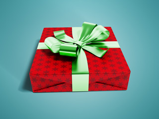 Gift wrapped in red paper with a green bow and ribbons for a gift for the new year on the day of birth for a praise 3d render on blue background with shadow