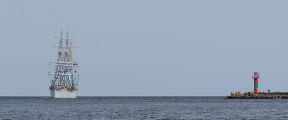 SAILING VESSEL AT SEA - Norwegian barque on the marine regatta