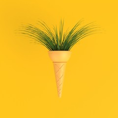 Branch tree in ice cream cone abstract minimal yellow background, Nature concept, 3d rendering