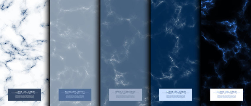 Marble collection abstract pattern texture navy blue background card template vector