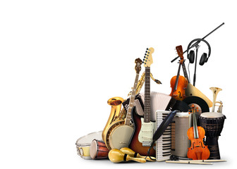 Musical instruments, orchestra or a collage of music Fotobehang