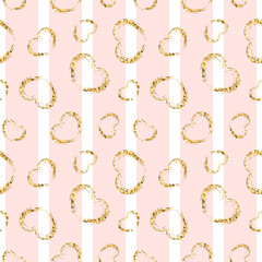 Gold heart seamless pattern. Pink-white geometric stripes, golden grunge confetti-hearts. Symbol of love, Valentine day holiday. Design wallpaper, background, fabric texture. Vector illustration