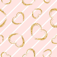 Gold heart seamless pattern. White-pink geometric stripes, golden grunge confetti-hearts. Symbol of love, Valentine day holiday. Design wallpaper, background, fabric texture. Vector illustration