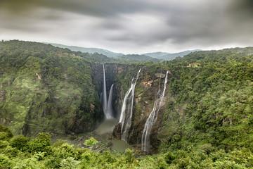 A view of the world famous Jog Falls in Karnataka, India during the monsoon season
