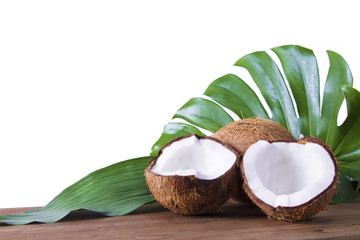 coconut open to natural on withe isolated