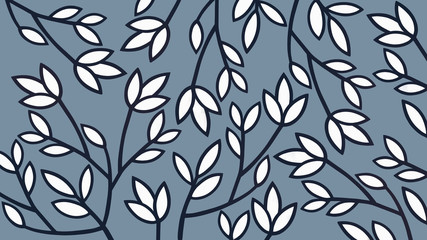 Floral background in blue and white colors