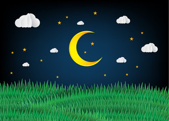 moon night paper art style.
