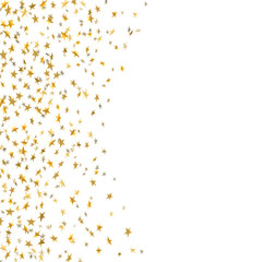 Gold star confetti celebration isolated on white background. Falling stars golden abstract pattern decoration. Glitter confetti Christmas card, New Year. Shiny sparkles. Vector illustration