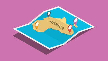 explore africa nation with maps pin tag location with isometric 3d style