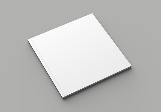 Soft cover square brochure, magazine, book or catalog mock up isolated on gray background. 3D illustrating.