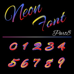 3D Neon Led Font. Liquid Matte Rounded Type. Tube Hand-Drawn Lettering. Multicolor Ultraviolet Colors. 3D render of bubble font with glint.