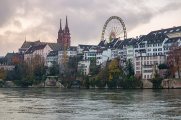 View of the historical centre of Basel before sunrise