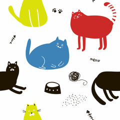 Colorful seamless pattern with cats.