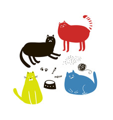 Set of cute colorful cats in doodle style.