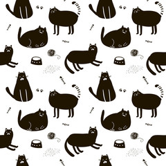 Black and white seamless pattern with cute cats.
