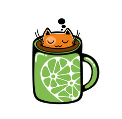Red cat in the cup of coffee.