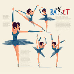Ballet dance in various action with typographic for header - vector