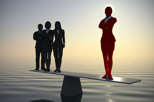 Balancing a team leader with a great team at sea at dawn.  A team of three executives stands on a balance where the counterweight is a great team leader exerting leverage at sea at dawn.