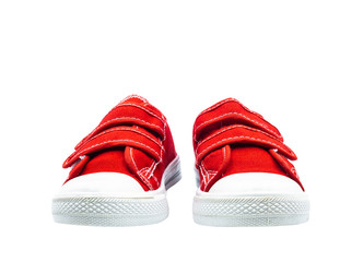 Fashion for kids. Sneakers red thick fabric. Isolated on white background.
