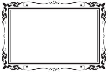 Decorative frame and border for design of greeting card wedding with copy space for add text message, black and white, Vector illustration