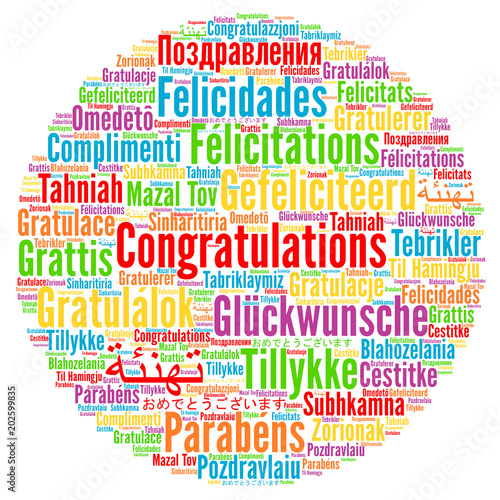 congratulations in different languages word cloud stock photo and