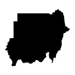 black silhouette country borders map of Sudan on white background of vector illustration