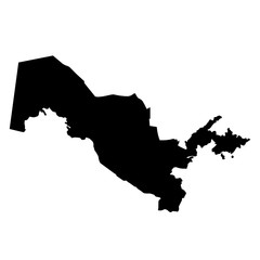 black silhouette country borders map of Uzbekistan on white background of vector illustration