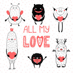 Printed kitchen splashbacks Illustrations Collection of hand drawn cute funny cartoon monsters holding hearts, with text All my love. Isolated objects. Vector illustration. Design concept for children, Valentines day.