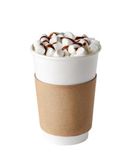 Poster Chocolate Cacao drink with marshmallows in paper cup