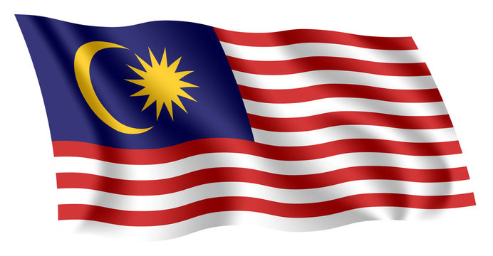 Malaysia flag. Isolated national flag of Malaysia. Waving flag of Malaysia. Fluttering textile malaysian flag. Stripes of Glory.