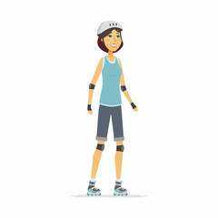 Girl on roller skates - cartoon people character isolated illustration
