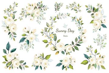 Set of floral branch, wreath. Flower white rose, green leaves. Wedding concept. Floral poster, invite. Vector arrangements for greeting card or invitation design background