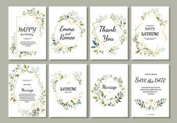 Set of card with flower rose, leaves and geometrical frame. Wedding ornament concept. Floral poster, invite. Vector decorative greeting card or invitation design background