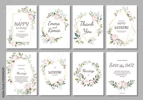 Set of card with flower rose leaves and geometrical frame wedding set of card with flower rose leaves and geometrical frame wedding ornament concept stopboris Image collections