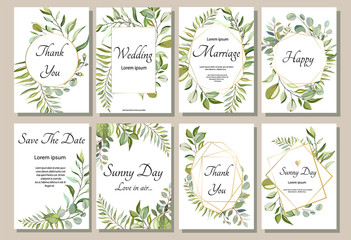 Set of card with forest leaves. Wedding ornament concept. Floral poster, invite. Vector decorative greeting card or invitation design background