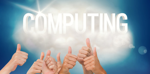 Hands giving thumbs up against computing on a floating cloud