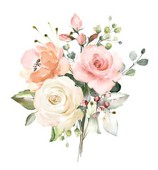 watercolor flowers. floral illustration, Leaf and buds. Botanic composition for wedding or greeting card.  branch of flowers - abstraction pink roses