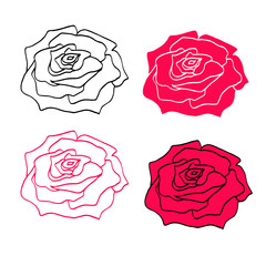 Rose icon symbol isolated on the white background for decorating packaging, package, poster, flyer.