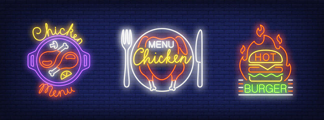 Chicken menu, hot burger neon sign set. Chicken dish, hamburger, fire . Night bright advertisements. Vector illustrations in neon style for fast food restaurant and cafe